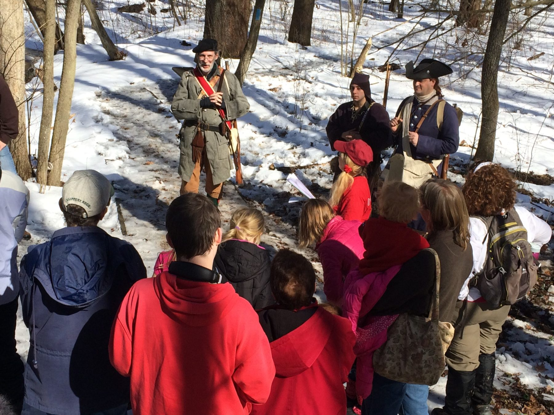 Bob Shaner of Leechburg, Pa., portraying frontier guide Christopher Gist, talks to hikers about the musket shot that almost killed 21-year-old George Washington when he traveled through western Pennsylvania in 1753. Similar reenactments will happen during history hikes scheduled for Feb. 22 at Jennings Environmental Education Center near Slippery Rock.