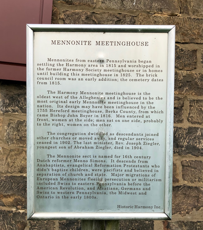 Mennonite Meeting House Info Sign